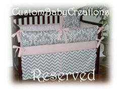 Reserved for Elizabeth  Bedding  Gray / by CustomBabyCreations, $120.00
