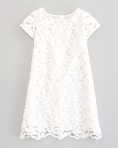 Charabia Crocheted Lace-Overlay Dress, White - Neiman Marcus