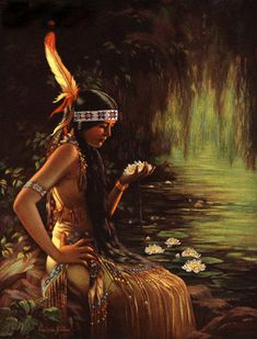 Indian Maiden Holding A Water Lily, Adelaide Hiebel - Native American Girls, Native American Pictures, Native American Beauty, Indian Pictures, American Indian Art, American History, American Indians, Native Indian, Native Art