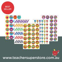 BEST SELLER: Stickers  Reward students with our variety of subject and theme stickers. The range includes foil, metallic, laser and scented stickers. Teaching Aids, Bee, Students, Metallic, Range, Teacher, Stickers, Birthday, Honey Bees