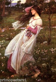 Windflowers Spring Girl Waterhouse Fine Repro Poster   eBay