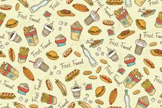 Pattern with hand drawn fast food by Handicraft on @creativemarket