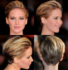 """Fashionista Jennifer Lawrence debuted her chic new pixie 'do on the red carpet at the London premiere of """"The Hunger Games: Catching Fire"""" on Nov. 11, 2013.RELATED: Star hair: Better long or short?"""