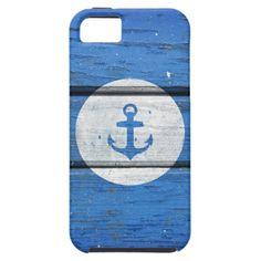 Nautical White Anchor on Vintage Blue Wood Panels iPhone 5 Case $44.95