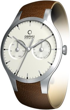 (Limited Supply) Click Image Above: Obaku Harmony Mens Slim Sport Stainless Watch - Brown Leather Strap - White Dial - V100gcirn