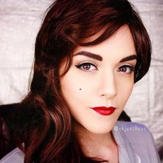 """""""DAY 18: Vintage/Pinup #dec14ojcmakeupchallenge #ohjaechaos  Decided to rock the classic pinup look, soft crease, slight wing, lashes and bold red lips. I…"""""""
