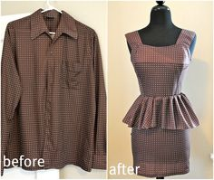 Mens shirt refashion: peplum dress | Trash To Couture.  Sleeves--ruffled waist; Cuffs--straps; Main shirt body--skirt and bodice (made as one piece dress, not separate); Collar--back sleeves.