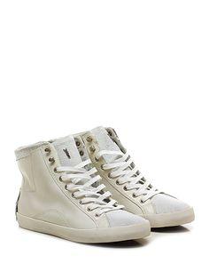 Crime - Sneakers - Donna - Sneaker in pelle stampa rettile, pelle vintage e pelle laminata con zip su lato interno e suola in gomma vintage. Tacco 50, platform 25 con battuta 25. Zeppa interna. - WHITE - € 149.00