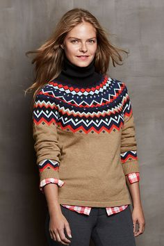 Scandinavian Style Sweater - Nordic Fair Isle - Wool - Red White ...