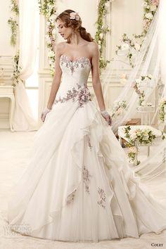 colet bridal 2015 strapless sweetheart lavender floral embroidered colored wedding dress::