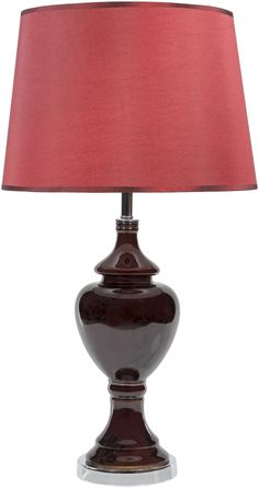 Shannon Contemporary Chocolate Polyester Ceramic Table Lamp