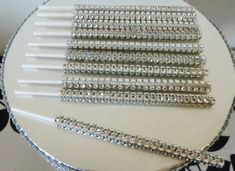 silver bling cake pop sticks, rhinestone cake pop sticks, candy buffet sticks, bling lollipop sticks on Etsy, $6.95