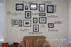Family Wall - photos interspersed with wooden words that describe your family!