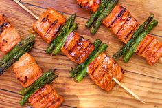 Salmon and Asparagus Kebabs! Keep reading for full recipe ⬇below Recipe Zest and juice of 1 large or 2 small lemons, preferably Meyer 2 tablespoons soy chunk) fresh ginger, peeled and shredded on a Microplane 1 tablespoon brown sugar 2 po Kebab Recipes, Salmon Recipes, Grilling Recipes, Fish Recipes, Seafood Recipes, Dinner Recipes, Cooking Recipes, Healthy Recipes, Vegetarian Grilling