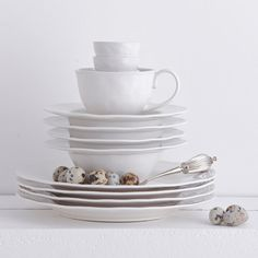 Aquitaine white dinnerware by Provincial Home Living