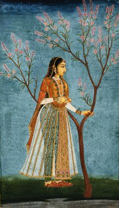 Mughal Miniature Painting Depicting a Lady Standing by a Tree in Blossom