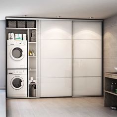 Sliding Laundry Cupboard Doors – Home Decor – Laundry Room İdeas 2020 Laundry Cupboard, Laundry Room Doors, Laundry Room Remodel, Laundry Room Cabinets, Small Laundry Rooms, Laundry Closet, Laundry Room Storage, Cupboard Doors, Laundry In Bathroom