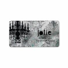 GC   Jolie Chandelier Gray Damask Custom Address Label