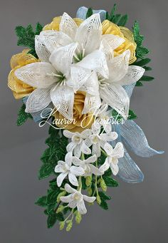 Lily and Rose Wedding Bouquet - Bead & Blossom Beaded Bouquet, Brooch Bouquets, Bride Bouquets, Fuse Beads, Beads And Wire, Perler Beads, White Lilies, Yellow Roses, French Beaded Flowers