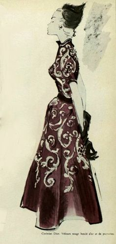 1948-49 - Christian Dior red velvet dress with gold embroideries