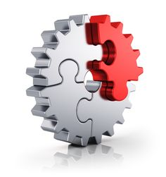 business creativity teamwork partnership and success concept: metal gear from puzzle pieces isolated on white background with reflection effect Marketing Program, Digital Marketing Services, Sales And Marketing, Content Marketing, Kaizen, Process Map, Room For Improvement, Stick Art, Something Big