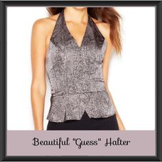 "Beautiful ""Guess"" Halter top Open back halter top. Adjustable clasps (see 3rd pic). Side zipper. Snake print. Silky feel to it. 96% polyester and 4 % spandex. Guess Tops"