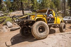 1st Gen Pickup on the Rubicon trail. #rollcage #pickup #toyota #4wdto #yellow #rubicon #wheeling #offroad #4x4 #stinger http://ift.tt/29KgtUr