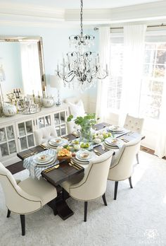 2017 Fall Home Tour with Yellow and Orange Leaves- dining room with chandelier