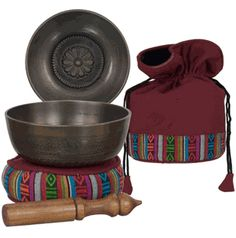 Singing Bowls ~ one of the ancient Tibetan meditation tools. Pure, clear sound is produced when the rim is rubbed by the mallet and is said to put the brain into a meditative state. Vibrations of singing bowls have the same wavelength found in the very brainwaves that produce feelings of relaxation.  Variances in bowl dimensions will determine the different tone pitches.