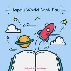 Fondo bonito con libro abierto y elementos para el día mundial del libro