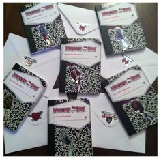 Monster High invitations made from mini composition notebooks. Just add the monster high label. I also used some stickers I bought at Target's dollar section. The notebooks fit perfectly in some leftover small envelopes I had. Kids can actually use their invitations!