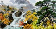 (North Korea) Waterfalls in Autumn by Myeong Si-hwan (1947-  )