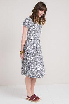 Riveria Dress , Organic Cotton Jersey Midi Skirt Dress - Seasalt