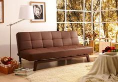 modern, elegant 3-position convertible futon sofa