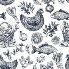 Vintage food background. Different kinds of food. Vector illustration royalty-free stock vector art