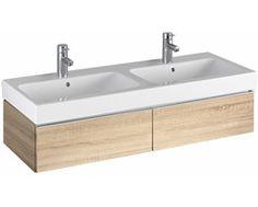 iCon Waschtischunterschrank für Doppelwaschtisch 1190 x 240 x 477 mm, mit 2 Schubladen, 2 Griffen verchromt, Holzstruktur Eiche Natur