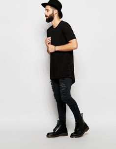 Image 4 ofASOS Super Longline T-Shirt With Popper Side Fastening And Scoop Hem