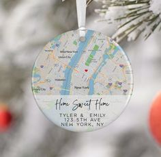 Personalized Engagement Gifts, Engagement Gifts For Couples, Engagement Ornaments, First Home Gifts, Heart Ornament, Personalized Ornaments, Custom Items, Custom Map, Couple Gifts