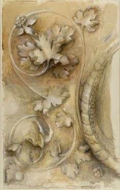 ❥Absolutely beautiful design and color. Part of the Base of a Pilaster in Santa Maria dei Miracoli~ Venice~ John Ruskin~ July 1869 Vintage Accessoires, John Ruskin, Grisaille, Architectural Elements, Architectural Painting, Mellow Yellow, Anime Comics, Architecture Details, Illustration Art