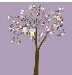 Swirl Tree Pattern with Owls vinyl wall decal by wallartdesign on Etsy