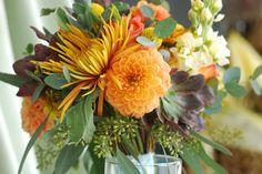 Wedding bouquet - Fall fugi, fall dahlias, yellow stock, succulents, lucadendren, , craspedia balls, and seeded eucalyptus.   Crystal Springs Florist, Benton Harbor Michigan