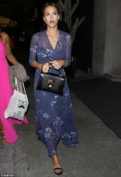 Keeping it breezy: Opting for a floaty blue floral number, Jessica looked to have taken the heat of the LA summer evening into account
