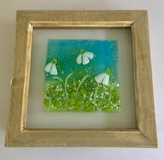 Glass Christmas Decorations, Glass Ornaments, Crushed Glass, Spring Art, Fused Glass Art, Memorial Gifts, Small Gifts, Mother Day Gifts, Framed Art