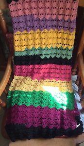 Handmade Crochet Preowned Afghan Blanket Rainbow Colors Coat of Many Colors | eBay