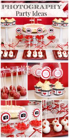 A camera themed engagment party celebrating love with cupcakes, cake pops, and candy dipped strawberries! See more party ideas at CatchMyParty.com!