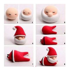 How to make Christmas decorations with Fimo dough - Dekoration Fondant Figures, Clay Figures, Polymer Clay Projects, Diy Clay, Christmas Cake Decorations, Christmas Crafts, Christmas Cupcakes, Father Christmas, Merry Christmas