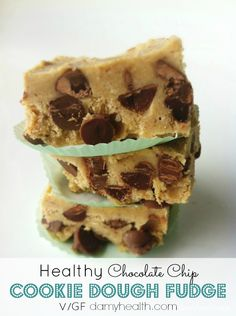 Healthy Chocolate Chip Cookie Dough Fudge This recipe is gluten free, grain free, high fiber, vegan, low sugar fudge, sugar free option and clean!
