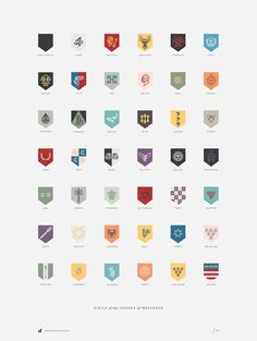 Game of Thrones Poster Featuring the Sigils of The Houses of Westeros