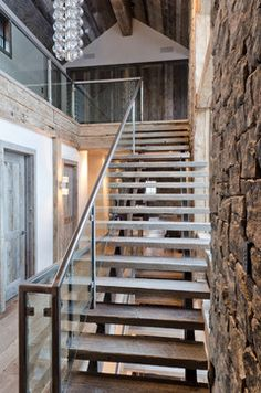 Rustic Redux -reclaimed rough sawn - staircase - jackson - On Site Management, Inc.