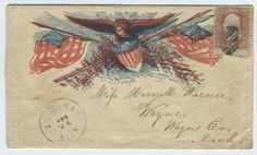 Very nice Civil War Patriotic cover showing Eagle with Shield and Flags.